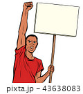 Afrikan man protests with a poster. Isolate on white background 43638083