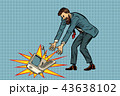 Businessman in rage breaks computer 43638102