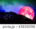 full pink moon back silhouette trees colorful sky 43639396