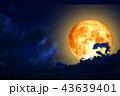 full worm moon back silhouette cloud in night sky 43639401