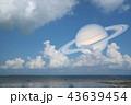 Saturn back cloud on sea concept Saturn near Earth 43639454