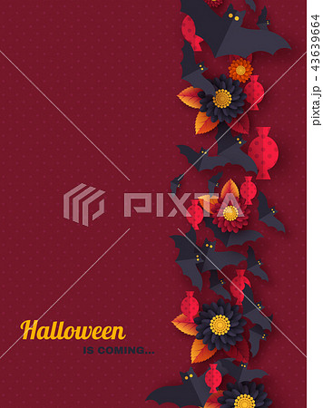 Halloween holiday background. Paper cut style flying bats, candy, flowers and spiders. Purple color 43639664