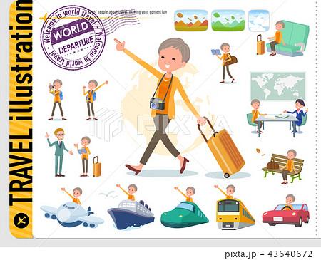 flat type short hair old women_travel 43640672