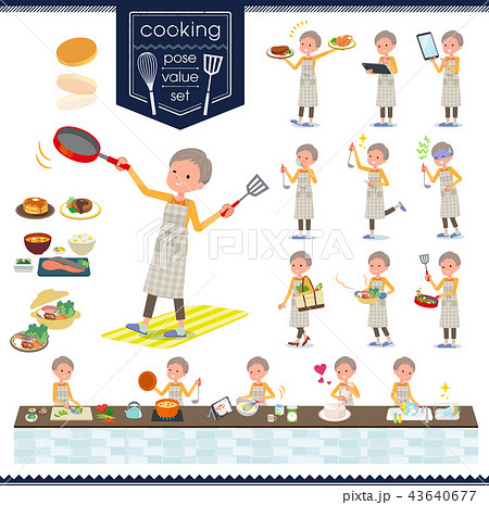 flat type short hair old women_cooking 43640677