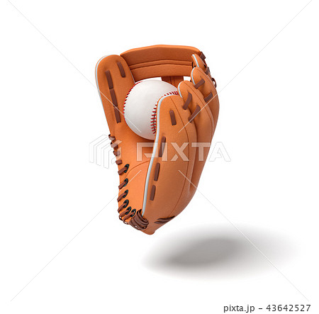 3d rendering of a new orange baseball mitt hanging on the white background with a white ball inside 43642527