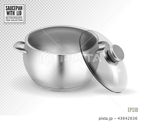 Steel saucepan with glass lid on a transparent background. Vector illustration template ready for 43642636