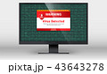Computer monitor with alert message of virus 43643278