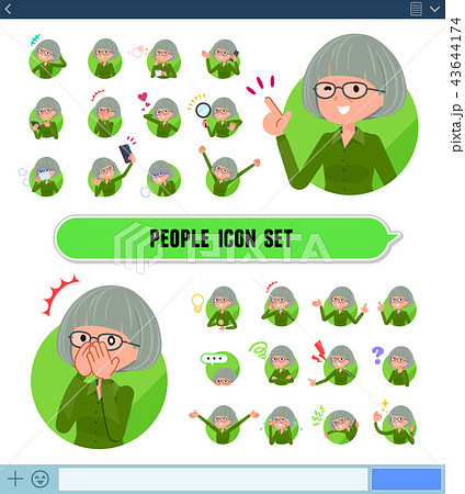 flat type green shirt old women_icon 43644174