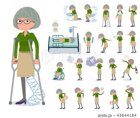 flat type green shirt old women_sickness 43644184