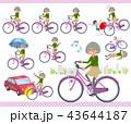 女性 シニア 自転車のイラスト 43644187