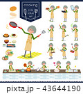 女性 シニア 料理のイラスト 43644190