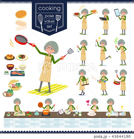 flat type green shirt old women_cooking 43644190