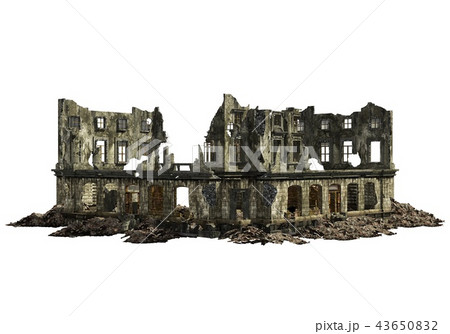 Ruined Building Isolated On White 3D Illustration 43650832