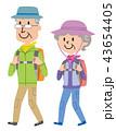 高齢者 ハイキング 登山 イラスト  43654405