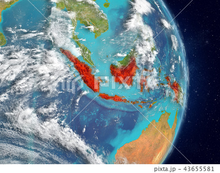 Orbit view of Indonesia in red 43655581