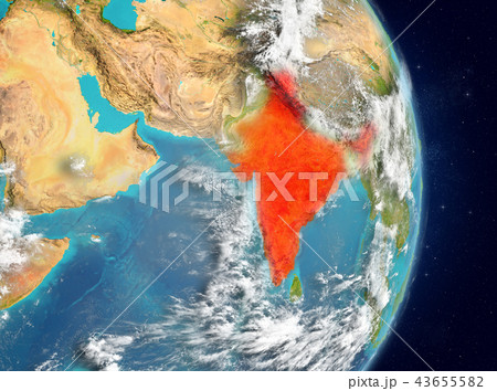 Orbit view of India in red 43655582