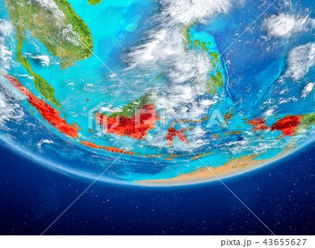 Indonesia on globe from space 43655627