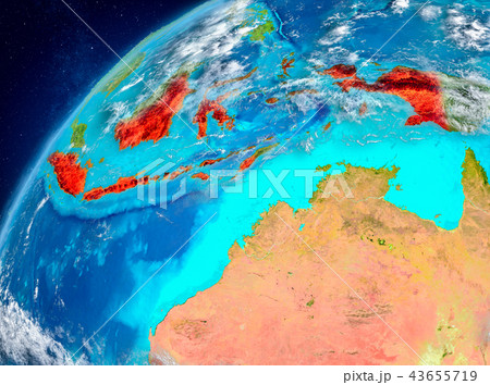 Space view of Indonesia in red 43655719