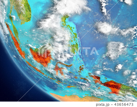 Satellite view of Indonesia in red 43656473