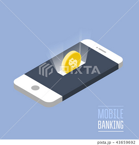 Mobile payment - isometric smartphone and coin 43659692