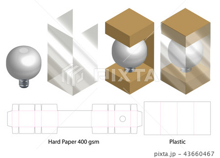 box with plastic window die cut mock up template のイラスト素材