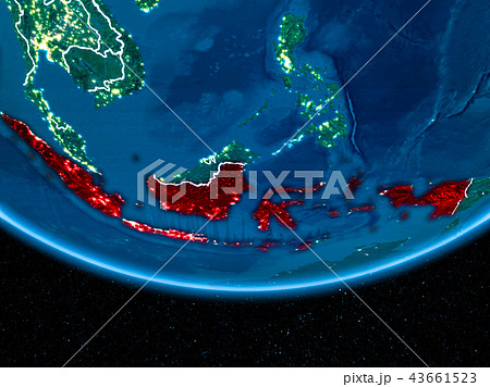 Indonesia on planet Earth from space at night 43661523