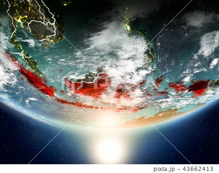 Indonesia with sun on planet Earth 43662413
