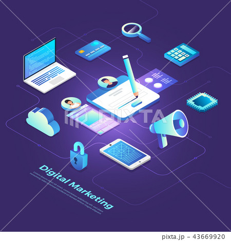 Isometric Digital Marketing 43669920