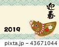 年賀状 猪 亥年のイラスト 43671044
