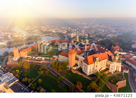 Aerial view Royal Wawel Castle and Gothic Cathedral in Cracow, Poland, with Renaissance Sigismund 43671125