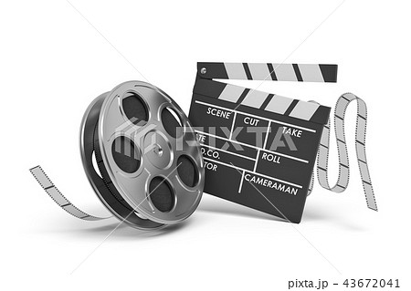3d rendering of a video reel aand black clapperboard with empty fields on white background. 43672041