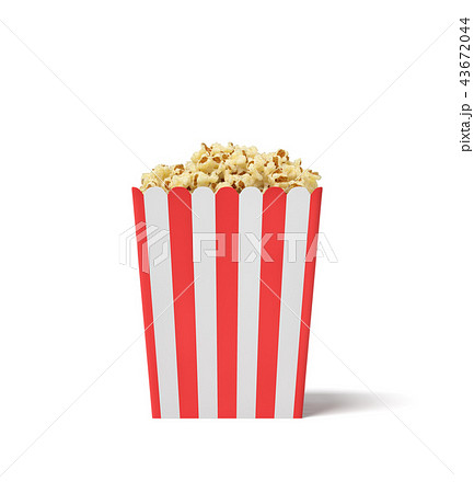 3d rendering of a square striped popcorn bucket filled with this snack over the brim on a white 43672044