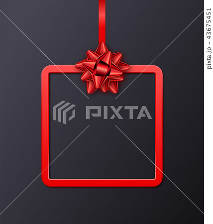 Holiday gift card with red frame, ribbon and bow 43675451
