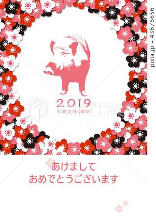 2019年賀状「ガーリーデザイン」あけおめ 手書き文字スペース空き