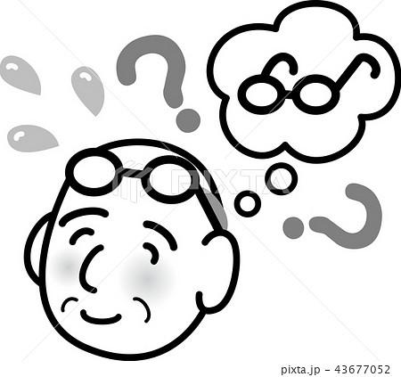 おじいちゃん 物忘れ シニア 焦る 白黒線画モノクロ 43677052