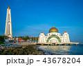 masjid selat melaka in malacca,  malaysia at dusk 43678204