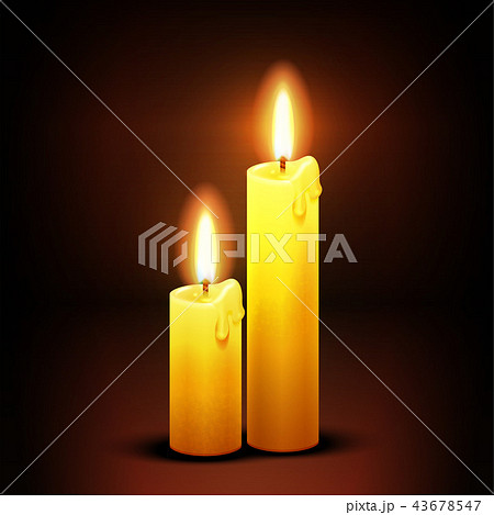 Vector christian background with burning dinner candles 43678547