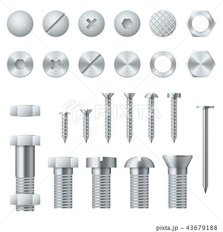 Screws, bolts, nuts, nails and rivets realistic vector design elements 43679188