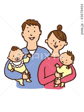 ママとパパと双子ちゃん 43679404
