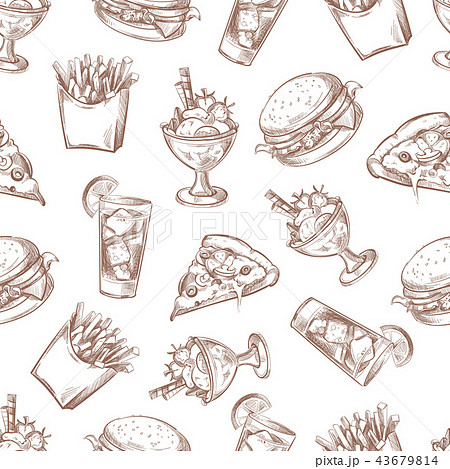 Fast food vector seamless background, menu pattern for your packing design 43679814