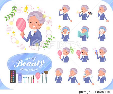 flat type blue one piece old women_beauty 43680116