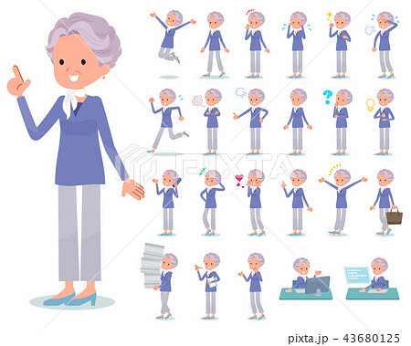 flat type blue one piece old women_emotion 43680125