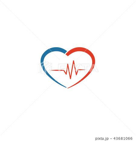 Heart pulse logo icon vector template 43681066