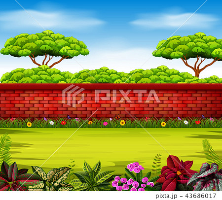 the high wall with tall trees and some flowers 43686017