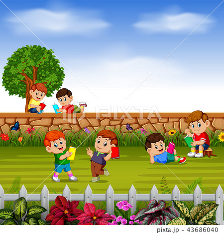 happy children learn together with their friends  43686040