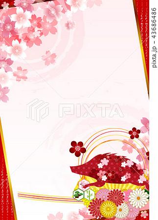 亥 桜 年賀状 背景 43686486