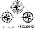 方位磁石 羅針盤 コンパスのイラスト 43686942