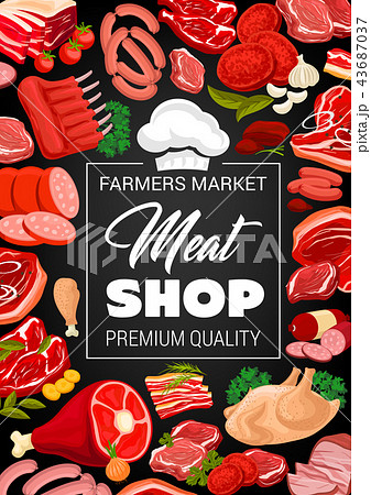 Butchery shop poster with raw meat and sausages 43687037