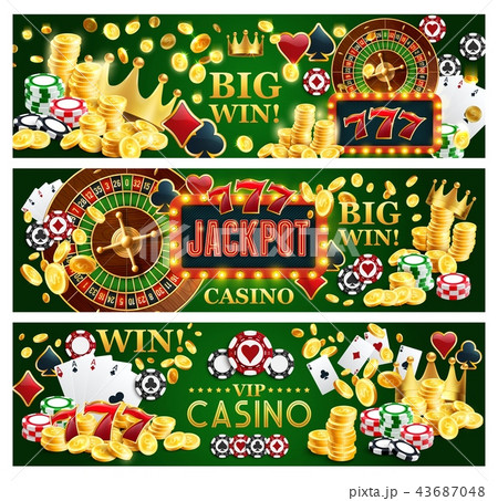 Jackpot online casino banners with gambling items 43687048