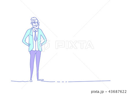 senior businessman standing pose hand drawn male character business